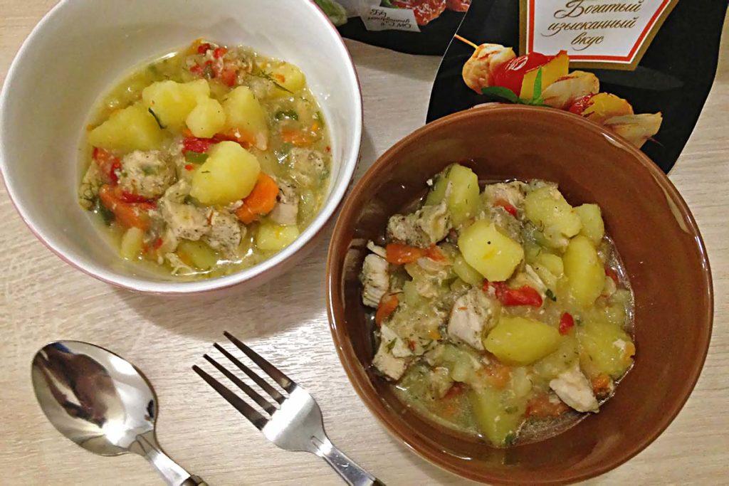 Картошка тушёная с курицей - рецепт в мультиварке ужин правильное питание мультиварка курица диета