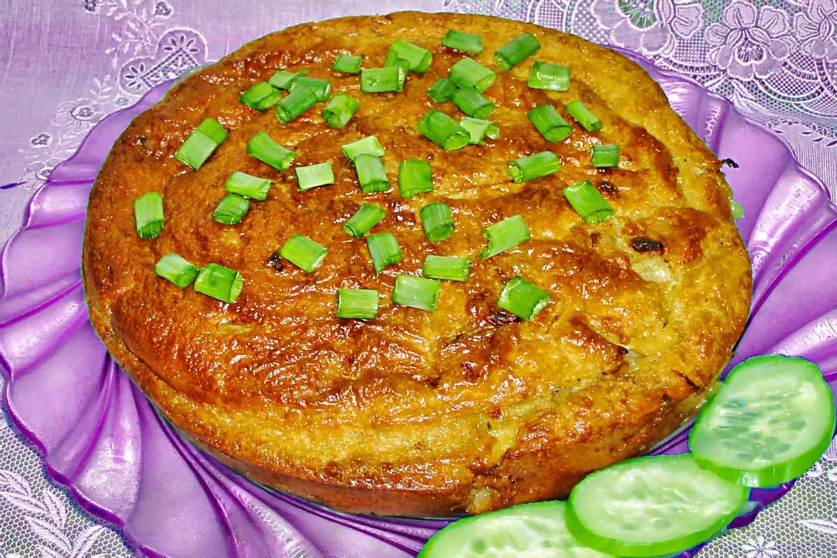 Заливной пирог с капустой на кефире