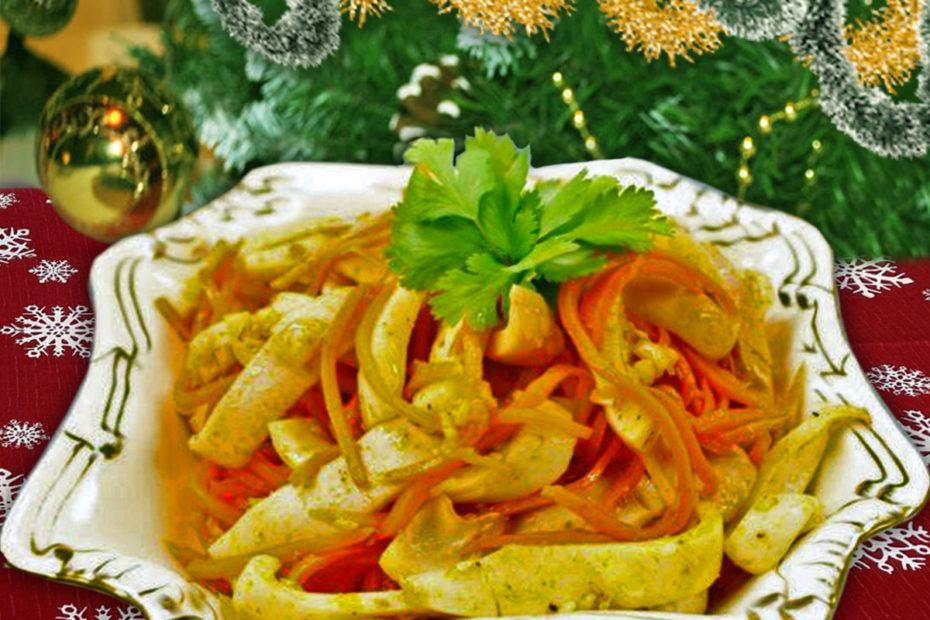 Новогодний салат с кальмарами и корейской морковью – простой рецепт к празднику Рецепты  салаты праздники полезные советы новый год